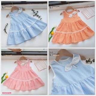 Váy Hè Bé Gái Vải Thô Nhăn Tăng Mát Chống Nóng, Mẫu Kẻ Caro Ba Màu Xanh,Cam,Hồng Size 80-120- Thiết kế Minium