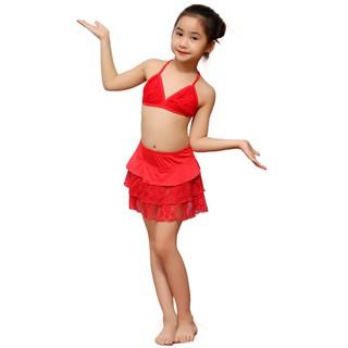 Bộ bơi bé gái ren đỏ NARSIS KA0001
