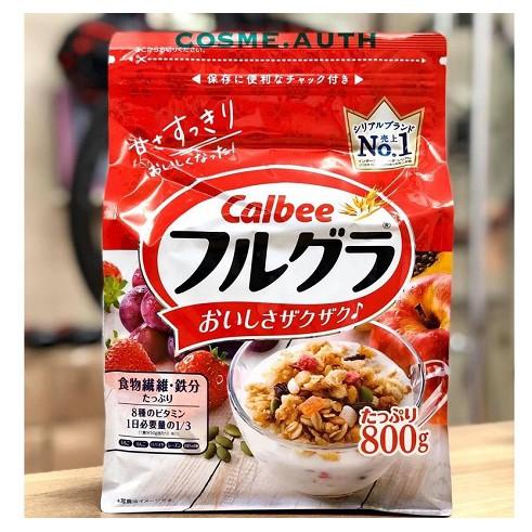 [Date Mới: 12/2021]Ngũ Cốc Calbee vị Trái Cây gói đỏ 800g hàng Nhật Bản