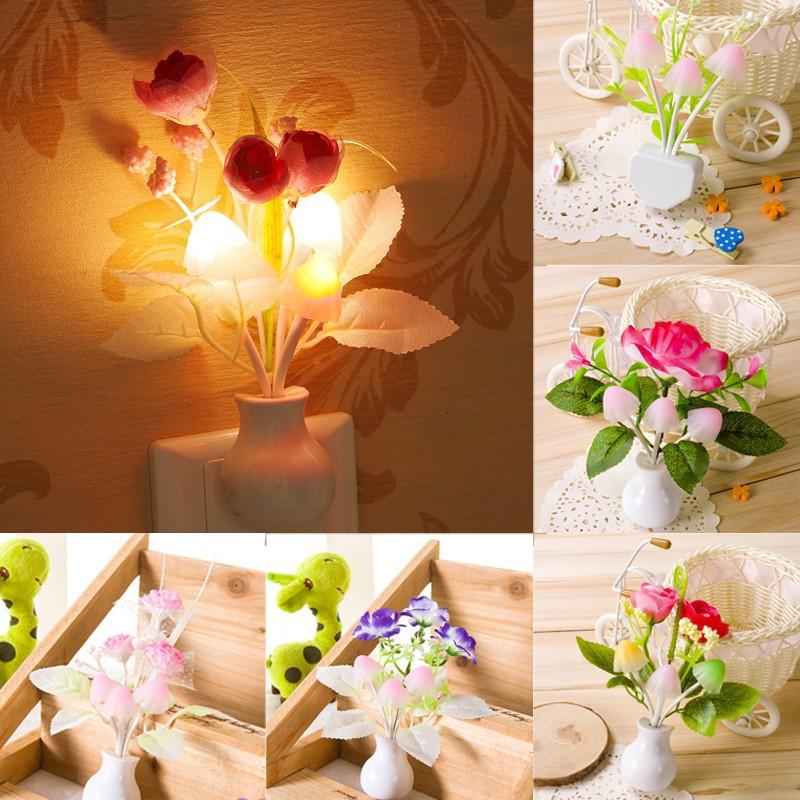 Đèn ngủ LED, Cảm Biến, Hình Cây Nấm, Bông Hoa Lãng Mạn, Phích Cắm Chuẩn Của Hoa Kỳ, Dùng Để Trang Trí