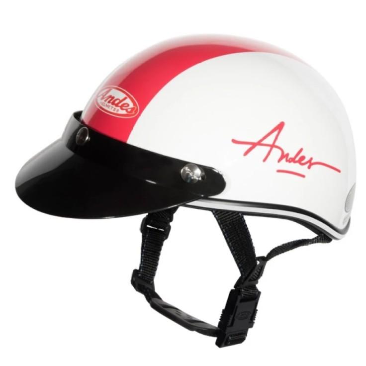 Mũ bảo hiểm Andes (Trắng đỏ) - Haly-W194