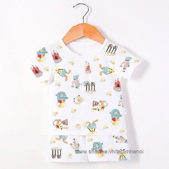 (Bin_Bu_An) Bộ cotton thông hơi tản nhiệt khuy vai QATE271 cho bé trai và bé gái