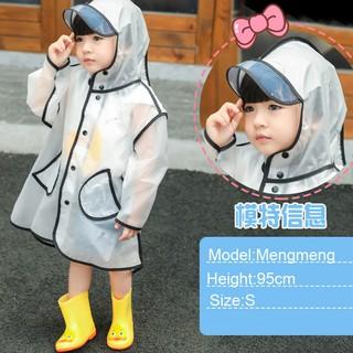Áo mưa trong suốt dễ thương cho bé