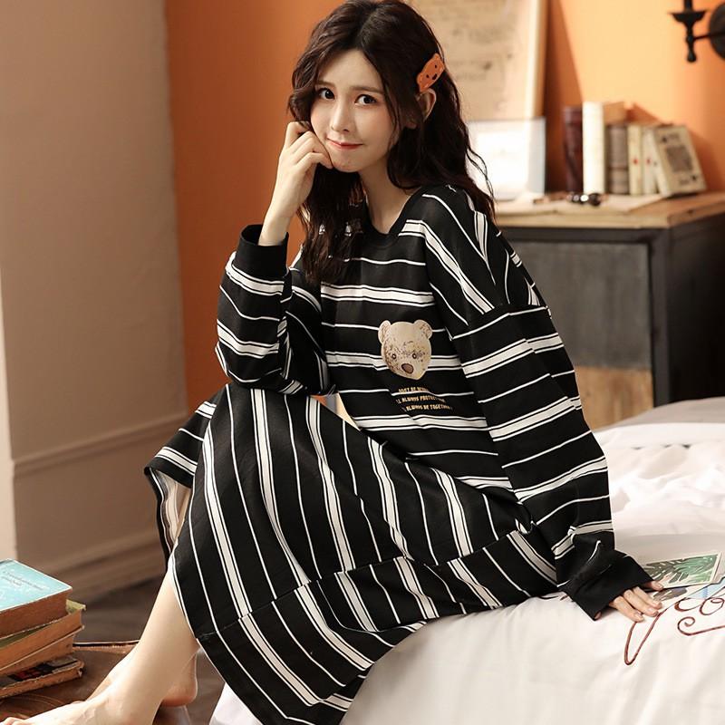 Váy Ngủ Dài Tay Mùa Thu Đông Chất Cotton Mềm Mịn, Mặc Xinh Dễ Thương