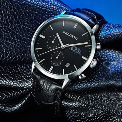 Đồng hồ nam BELUSHI dây da sang trọng chạy 5 kim, có lịch ngày đêm BELI2