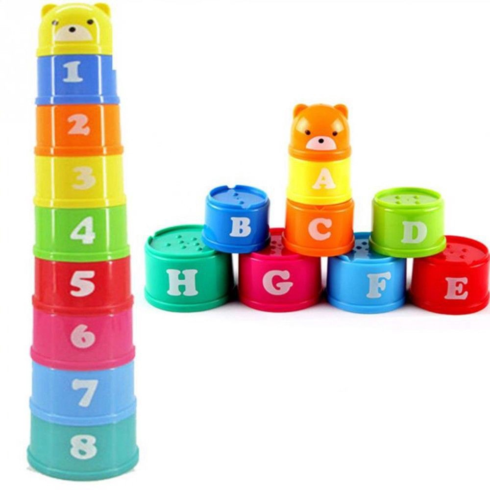 Baby Bath Toy Stacking Pile Up Tower Count Cups kids Toy