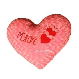 Gấu bông gối ôm Trái tim màu hồng (2 size 2 màu) vải nhung xoắn