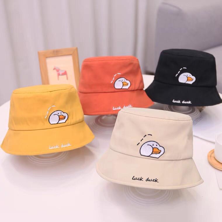 Nón cho bé - Mũ nón vành tròn thêu hình Vịt luck duck phong cách Hàn Quốc cho bé trai bé gái từ 3-8 tuổi