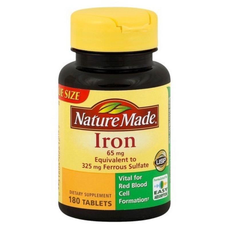 Viên uống bổ sung sắt Nature Made Iron 65 mg 365 viên nhập khẩu Mỹ nhập khẩu