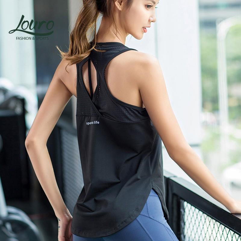 Mặc gì đẹp: Năng động với Áo tanktop nữ tập thể thao Louro LA71, kiểu áo tập gym, yoga, zumba nữ sát nách chất liệu thoáng mát, siêu co giãn