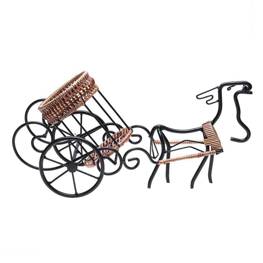 Kệ rượu hình ngựa kéo giả cổ Eden Living EDL-R006