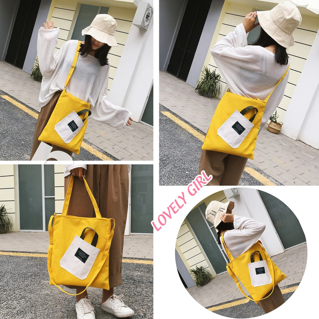 Túi Vải Tote Đeo Chéo Đính Túi Nhỏ Trước Cute M548