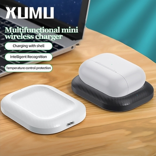 Xumu 3W Qi Wireless Charger Dock Stand For Airpods 2 Pro 3 Earphone Charging Pad With Micro USB Data Cable