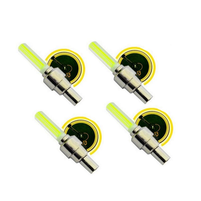 Bộ 4 Đèn LED gắn van đổi màu cho bánh xe máy ô tô TL 131-4A(Vàng)