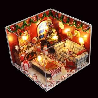 Mô Hình Nhà Gỗ Diy Giáng Sinh (Tặng Mica chắn Bụi + Keo+Dụng Cụ Kit)