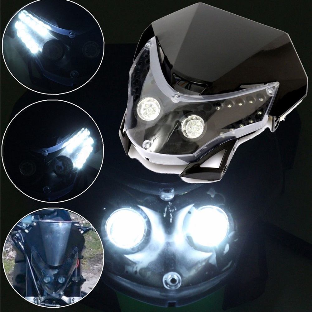 Dirtbike Motorcycle Universal Matte Black LED Headlight High Low Beam Sport Hot