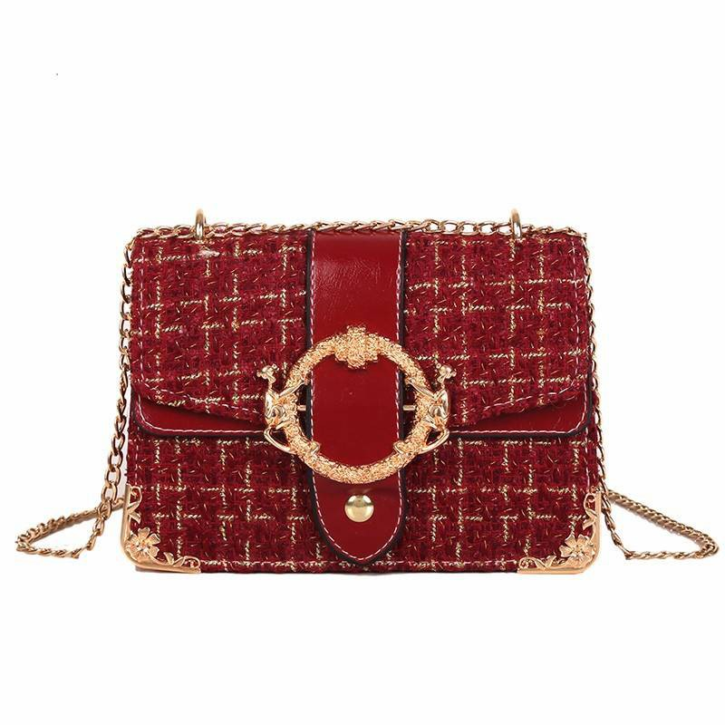 Túi xách Pohanu túi đeo chéo nữ da nẹp viền vàng dây xích BT52