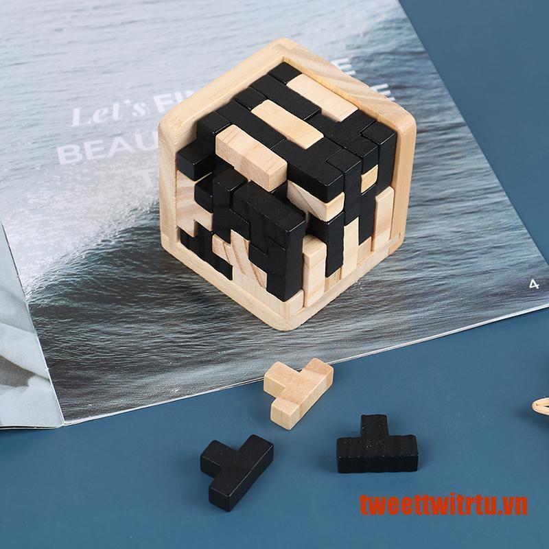 【TrTu】3D Wooden Puzzle Toy Brain Teaser Geometric T Shape Matching Jigsaw Puzz