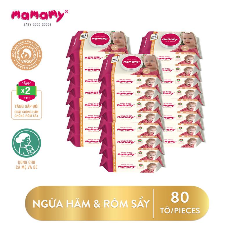 Khăn ướt / giấy ướt cho bé kháng khuẩn cho da Mamamy có nắp 80 tờ/gói - Combo 24 gói