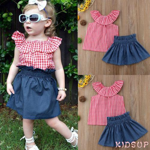 ✤-Toddler Kids Baby Girls Plaids Tops+Denim Shorts Dress Outfits Clothes 2PCS Set