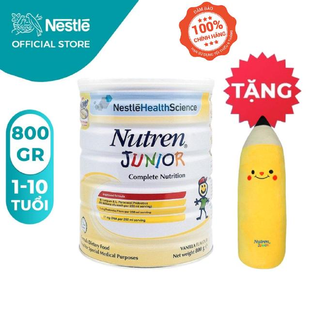 Sữa bột Nutren Junior 800g [Tặng 01 Gối ôm bút chì cho bé]