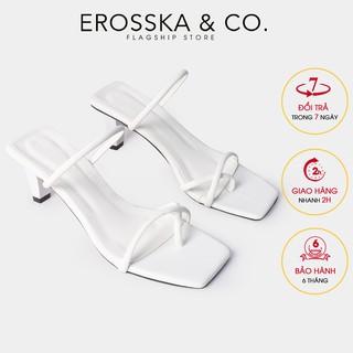 Dép cao gót thời trang Erosska kiểu dáng xỏ ngón phối dây cao 8cm màu trắng _ EM072 thumbnail