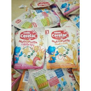 Bánh ăn dặm Nestle' CERELAC Nutripuffs vị Chuối cam/ Dâu chuối gói 50gr