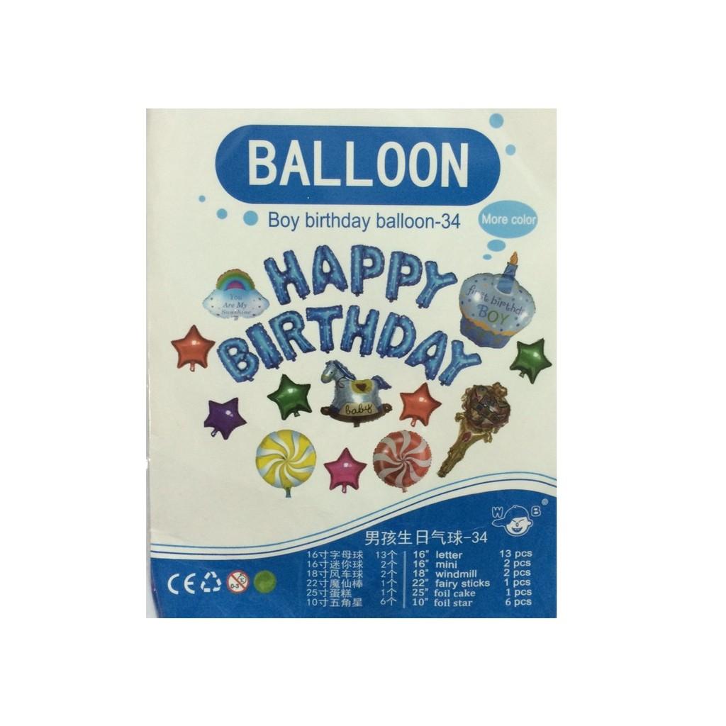(Kèm bơm+Bóng số+Băng dính) Set #34 bóng trang trí sinh nhật - Bóng sinh nhật bé trai - Bóng sinh nh