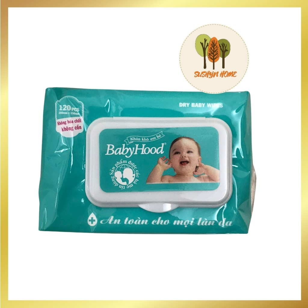 Khăn Giấy Khô Đa Năng Baby HoodKhăn Vải Khô Đa Năng Không Hóa Chất, Không Cồn, An Toàn Cho Bé