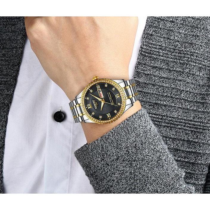 Đồng hồ nam dây thép đặc đính hạt Nibosi 2315 (fullbox)