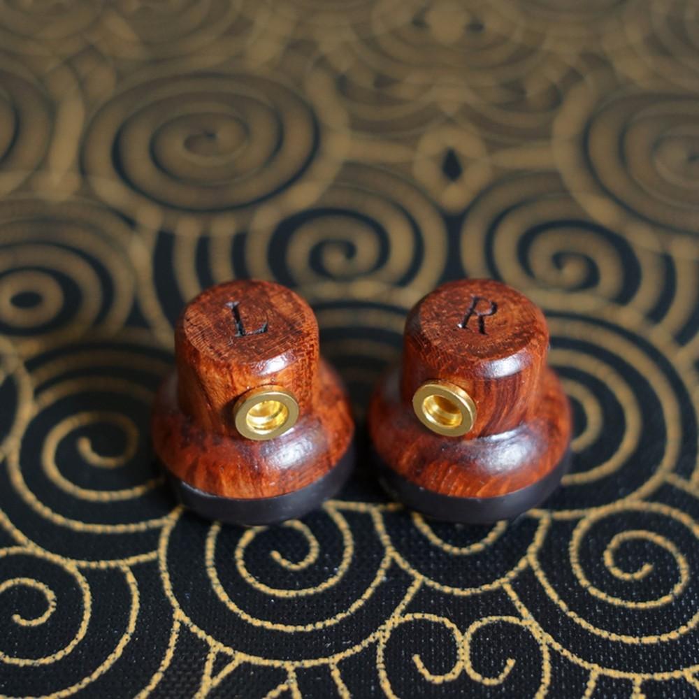DIY 14.3mm Flat Head Wooden Earbuds HiFi Earphone Heavy Bass Sound Quality Earbuds Wiht MMCX Interface