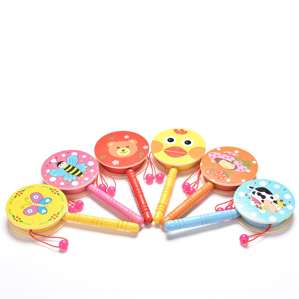 1 Pcs Rattle Drum Cartoon Baby Kid Percussion Educational Musical Instrume