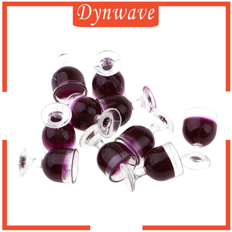 [DYNWAVE] 10 Pieces Red Dollhouse Wine Glass Miniature Goblet 1/12 Champagne Cup Decor