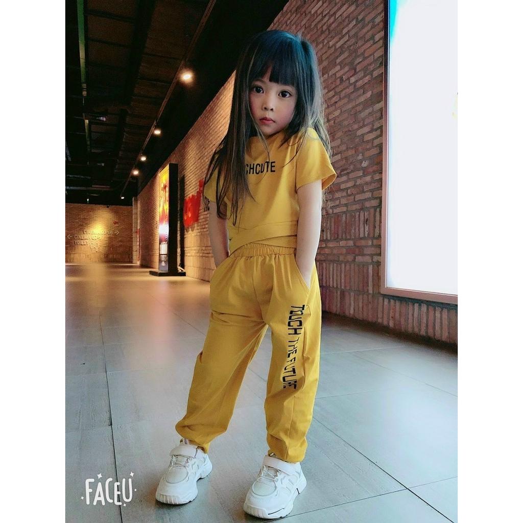 Bộ bé gái áo Croptop và Quần hiphop cotton thun 4 chiều 10-22kg XHN520