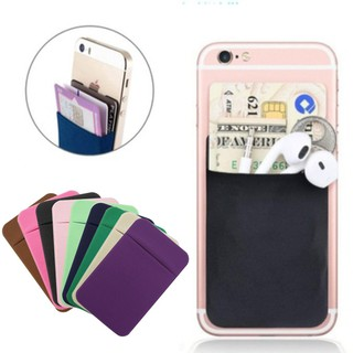 Lycra Cell Smartphone Wallet Back ID Card Storage Holder Case Pocket Pouch w/Cap