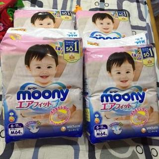 Tã dán Moony size NB90, S84, M64, L54, tã quần M58