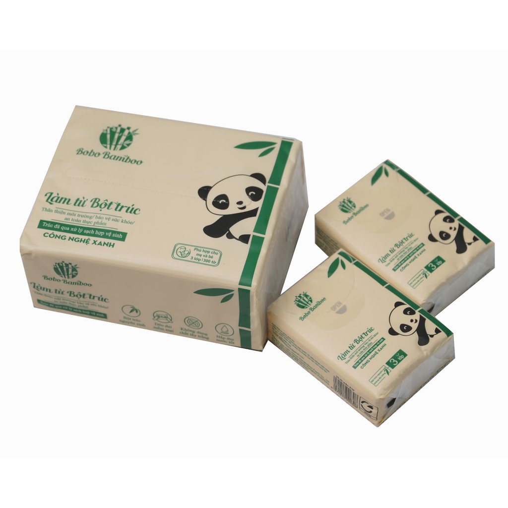Combo 20 gói khăn giấy rút + 10 gói khăn giấy bỏ túi làm từ bột trúc siêu dai Bobo B