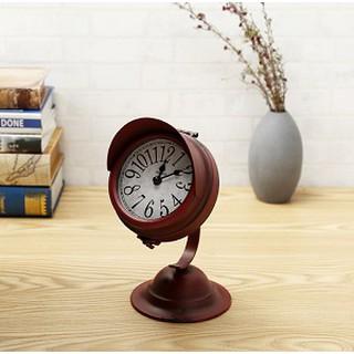 Đồng hồ để bàn phong cách cổ điển vintage bằng sắt để bàn kiểu cong độc đáo