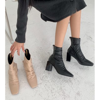 Giày bốt nữ cổ cao da nhăn mới 2 màu đen & kem, kéo khóa sau, đế cao 7 phân, boots nữ ulzzang hàn quốc 2021 thumbnail