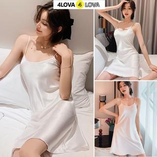 Hình ảnh Váy ngủ 2 dây lụa satin cao cấp 4Lova mềm mịn, quyến rũ-3
