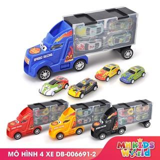 Bộ mô hình xe tải chứa 4 xe đua hợp kim 6691 cho bé lứa tuổi 3+ xe hợp kim và nhựa ABS an toàn chắc chắn thumbnail