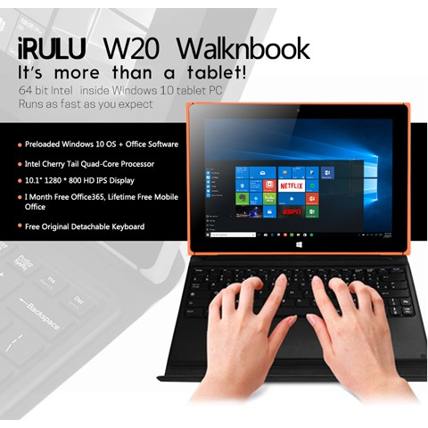 [XẢ KHO BÁN VỐN] iRULU W20 Walknbook Tablet 2-in-1 Windows 10 2GB RAM 32GB  chip Intel lõi tứ 1 92GHz -