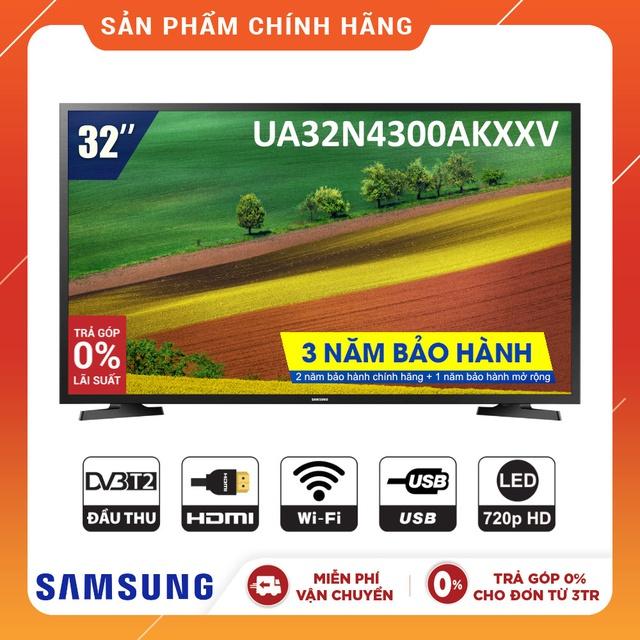 [Nhập SAMS700K Giảm 700K] Smart Tivi LED SAMSUNG 32 Inch UA32N4300AKXXV