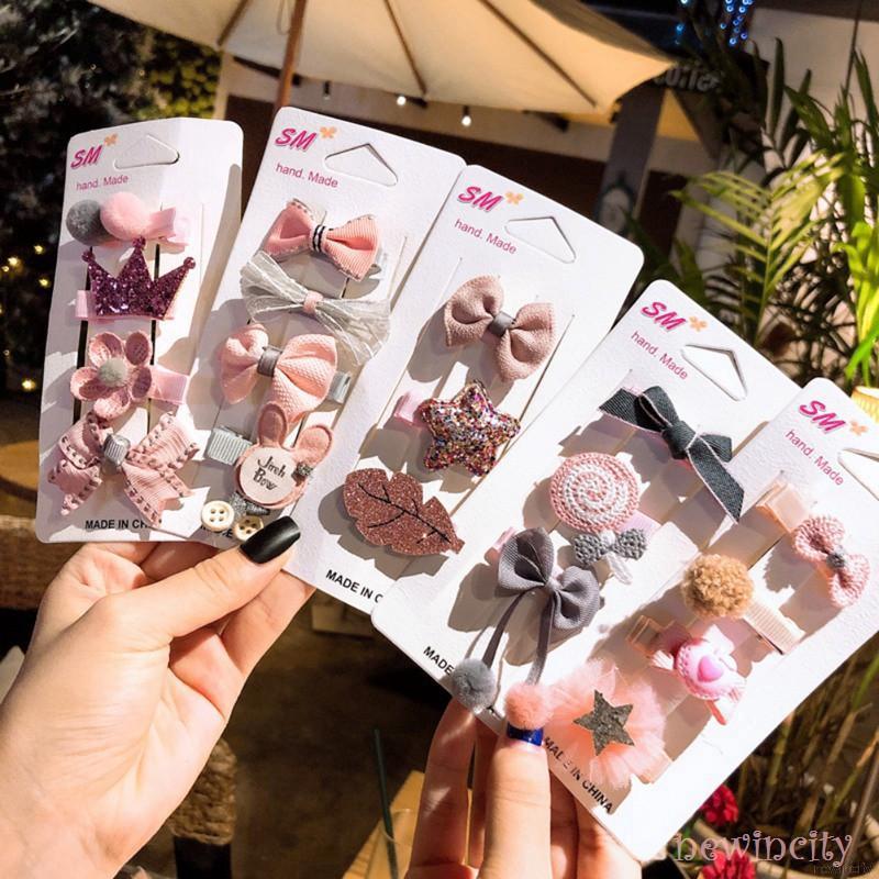 Bộ 4 kẹp tóc phong cách Hàn Quốc xinh xắn cho bé gái