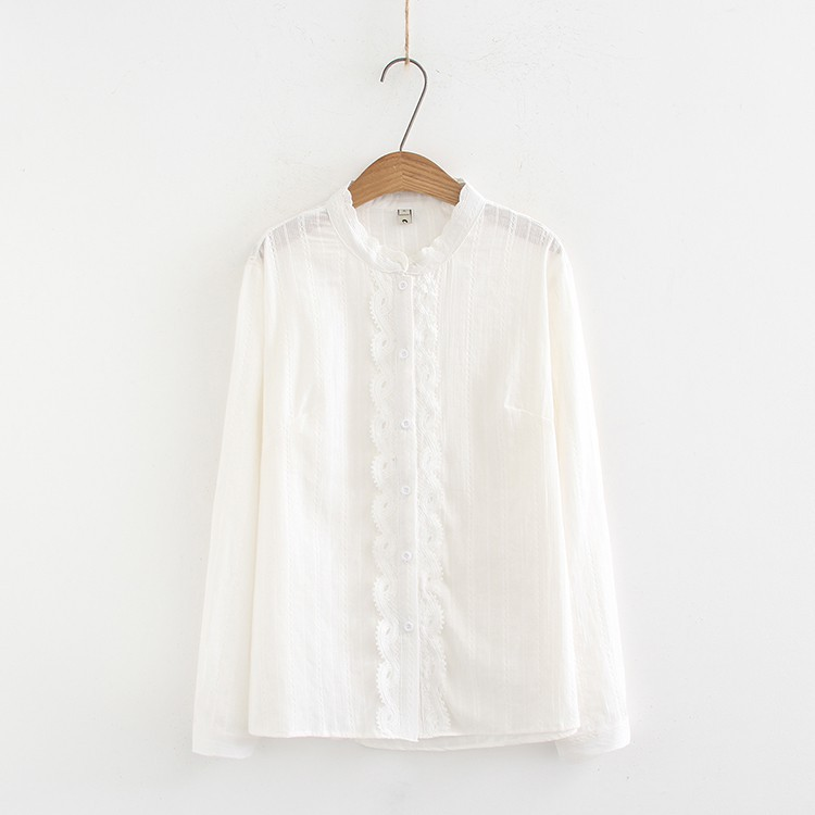 Fashion new spot quality awesome plus fertilizer XL women's cotton shirt spring Korean version of the loose fat mm lace