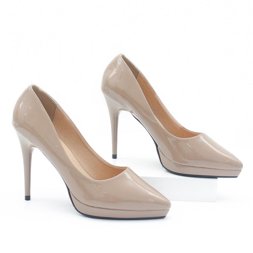 Giày Cao Gót 9cm Đế Đúp Da Bóng Mũi Nhọn Màu Nâu Sữa Pixie P672