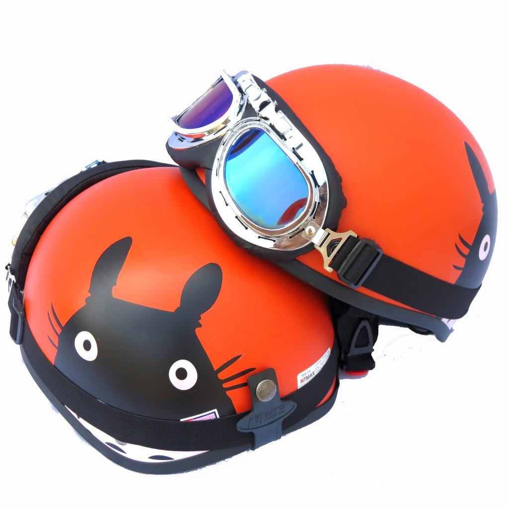 Mũ bảo hiểm 1/2 NTMAX mèo totoro (nhiều màu) + kính phi công hoặc kính uv400