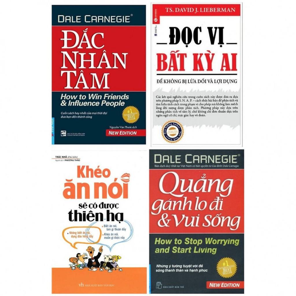 Sách - Combo Đắc nhân tâm, đọc vị bất kỳ ai, quẳng gánh lo đi & vui sống, khéo ăn nói