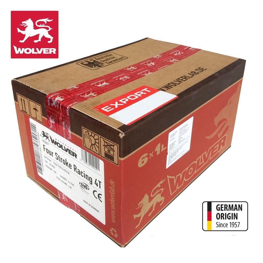 Dầu nhớt cao cấp xe số và xe tay côn Wolver Racing 10W-40 thùng 6 lon/1 lít