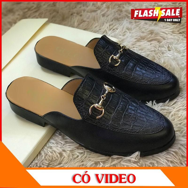 Giày sục nam dập vân lót vàng kèm xích đẹp và rẻ
